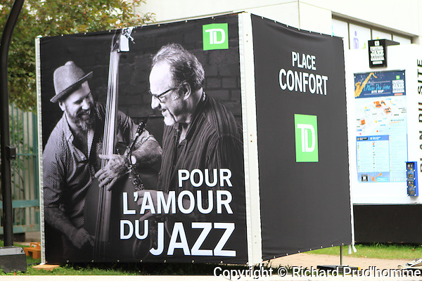A large outdoor sign on the site of the Montreal International Jazz Festival