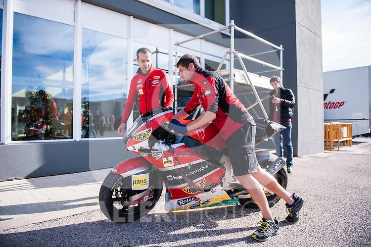 VALENCIA, SPAIN - NOVEMBER 11: Axel Pons motorbike crashed during Valencia MotoGP 2016 at Ricardo Tormo Circuit on November 11, 2016 in Valencia, Spain
