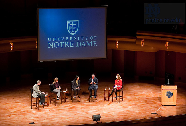From left to right: Gary Anderson, Hesburgh Professor of Catholic Theology, Shanna Gast, Senior Economics Major, Carolyn Woo, Martin J. Gillen Dean of the Mendoza College of Business, Thomas Friedman, New York Times columnist, and Norah O'Donnell, NBC News correspondant participate in the round table discussion portion of the 2010 Forum headline event at the Leighton Concert Hall Nov. 3, 2010...Photo by Matt Cashore/University of Notre Dame