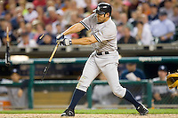 Johnny Damon #18 of the New York Yankees shatters his bat at Comerica Park April 27, 2009 in Detroit, Michigan.  Photo by Brian Westerholt / Four Seam Images