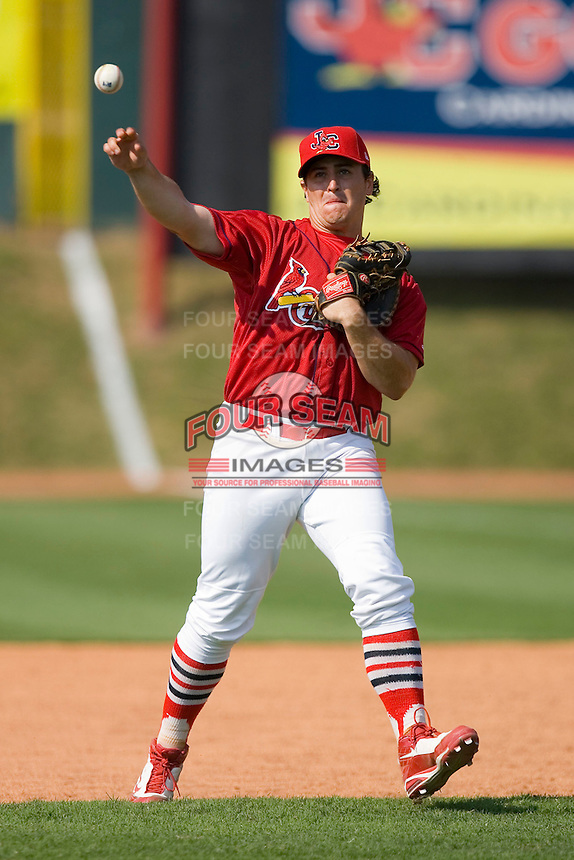 Matt Rigoli #29 of the Johnson City Cardinals during infield practice at Howard Johnson Stadium June 27, 2009 in Johnson City, Tennessee. (Photo by Brian Westerholt / Four Seam Images)