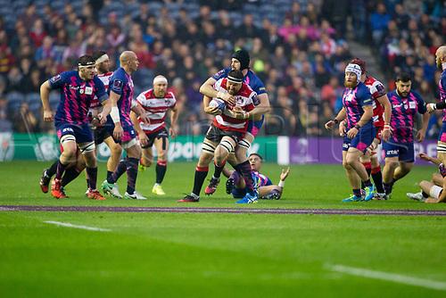 May 12th 2017, BT Murrayfield, Edinburgh, Scotland; European Rugby Challenge Cup Final; Gloucester versus Stade Francais;   Jeremy Thrush makes a break for Gloucester