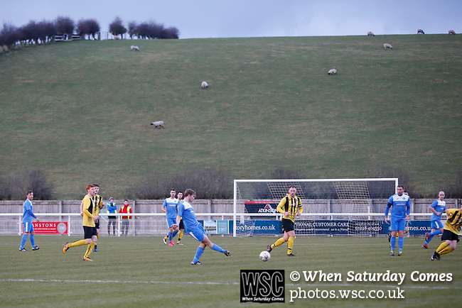 Penrith attack down the right. Penrith AFC V Hebburn Town, Northern League Division One, 22nd December 2018. Penrith are the only Cumbrian team in the Northern League. All the other teams are based across the Pennines in the north east.<br /> Penrith, winless at kick off, lost a thriller 3-4, in front of 100 people. They won five games all season, but were reprieved from relegation following Blyth's resignation from the league.