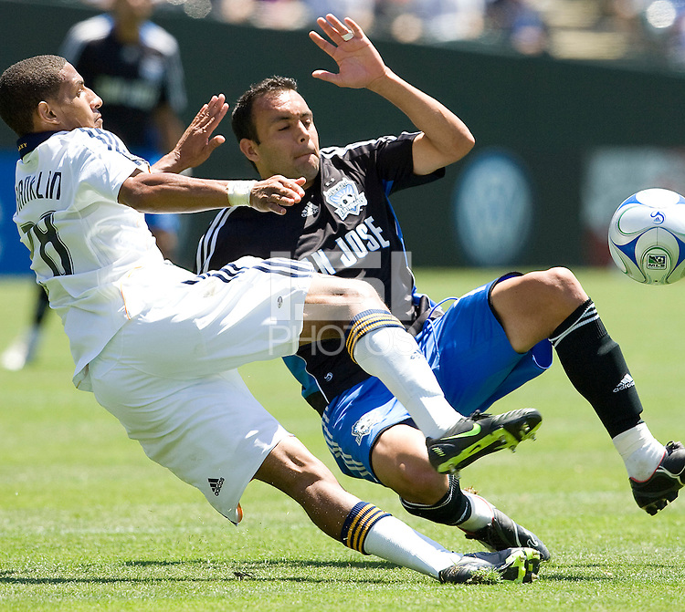 03 August 2008: Ramiro Corrales of the Earthquakes fights for the ball against Sean Franklin of the Galaxy during the game at McAfee Coliseum in Oakland, California.   San Jose Earthquakes defeated Los Angeles Galaxy, 3-2.
