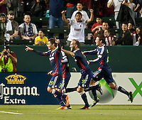 CARSON, CA – APRIL 30, 2011: Chivas USA forward Marcos Mondaini (23) celebrates his goal during the match between Chivas USA and New England Revolution at the Home Depot Center, April 30, 2011 in Carson, California. Final score Chivas USA 3, New England Revolution 0.