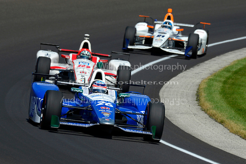 Verizon IndyCar Series<br /> Indianapolis 500 Carb Day<br /> Indianapolis Motor Speedway, Indianapolis, IN USA<br /> Friday 26 May 2017<br /> Takuma Sato, Andretti Autosport Honda, James Davison, Dale Coyne Racing Honda, JR Hildebrand, Ed Carpenter Racing Chevrolet<br /> World Copyright: F. Peirce Williams
