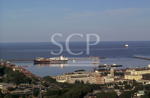 Buenos Aires, Argentina. Container ship and tugboat in the port.