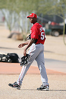 Aroldis Chapman, a pitcher from Cuba, works out in spring training with the Cincinnati Reds in his first season since defecting from Cuba and signing a contract with Cincinnati. Reds complex, Goodyear, AZ - 02/19/2010..Photo by:  Bill Mitchell/Four Seam Images.