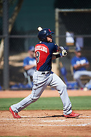 Cleveland Indians Jonathan Laureano (8) during an Instructional League game against the Los Angeles Dodgers on October 10, 2016 at the Camelback Ranch Complex in Glendale, Arizona.  (Mike Janes/Four Seam Images)