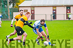 Castleisland Desmonds V Listowel Emmets: Castleisland Desmonds Kieran Brennangets to  the ball despite the close attention of Listowel's Brendan Flavin & Denis Walsh in semi final of the Bernard O'Callaghan Memorial Senior Football championship played in Finuge on Sunday last.