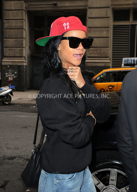 WWW.ACEPIXS.COM . . . . .  ....May 3 2012, New York City....Singer Rihanna leaves her downtown hotel on May 3 2012 in New York City....Please byline: CURTIS MEANS - ACE PICTURES.... *** ***..Ace Pictures, Inc:  ..Philip Vaughan (212) 243-8787 or (646) 769 0430..e-mail: info@acepixs.com..web: http://www.acepixs.com