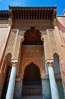 The arabesque architecture of the Saadian Tombs the 16th century mausoleum of the Saadian rulers, Marrakech, Morroco