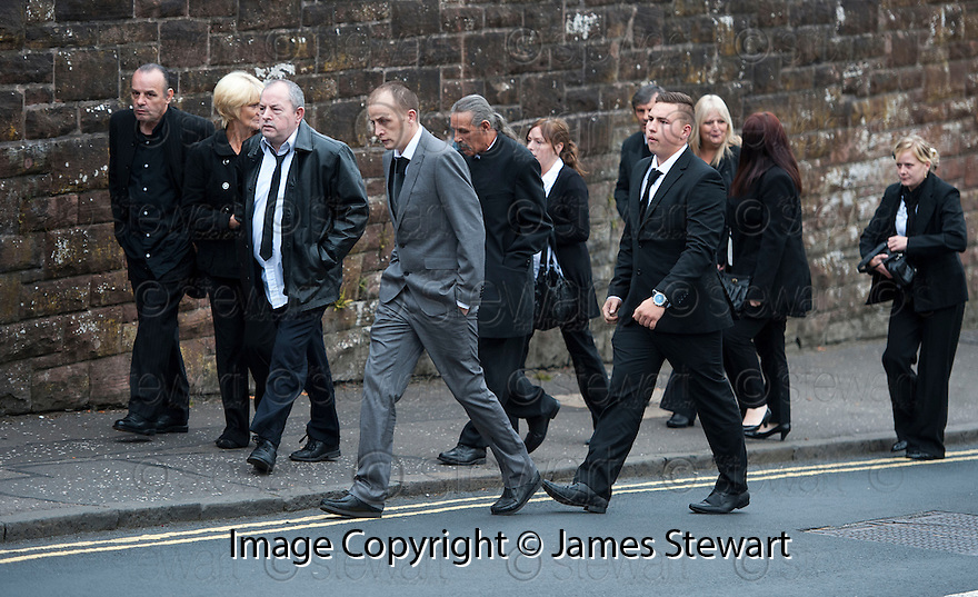 Mourners arrive at the funeral of former crime family matriarch Mags Haney at St Mary's RC Church in Stirling.