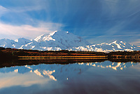 Mt. McKinley reflecting in Reflection Pond aglow in the morning light, Denali,  The High One, Denali National Park, Alaska, USA