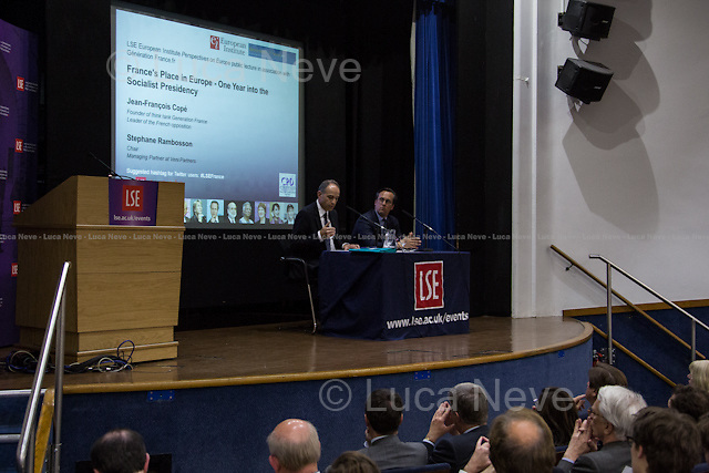 """London 05/06/2013. Today, the LSE (London School of Economics) presented a public lecture called """"France's place in Europe - One year into the Socialist Presidency"""" hosted by Jean-François Copé (Leader of the French opposition; president of the Union for a Popular Movement - UMP; mayor of Meaux; deputy for the 6th constituency of Seine-et-Marne; founder of think tank Generation France). Chair of the event was Stephane Rambosson (Managing partner at Veni Partners)."""