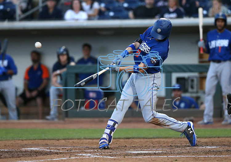 Las Vegas 51s&rsquo; Brandon Nimmo hits a grand slam against the Reno Aces in Reno, Nev. on Saturday, June 3, 2017. The 51s won 9-5.<br />Photo by Cathleen Allison/Nevada Photo Source