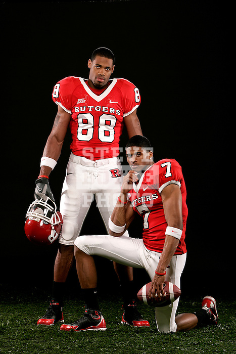 Rutgers football wide receivers Tiquan Underwood (7) and Kenny Britt (88) stand for a portrait on April 4, 2008 at Rutgers University in Piscataway, New Jersey.