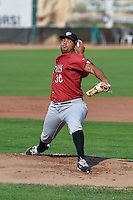 Idaho Falls Chukars starting pitcher Igol Feliz (30) delivers a pitch to the plate against the Ogden Raptors in Pioneer League action at Lindquist Field on September 3, 2016 in Ogden, Utah. The Chukars defeated the Raptors 3-0.(Stephen Smith/Four Seam Images)