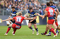 Freddie Burns of Bath Rugby takes on the Worcester Warriors defence. Aviva Premiership match, between Bath Rugby and Worcester Warriors on October 7, 2017 at the Recreation Ground in Bath, England. Photo by: Patrick Khachfe / Onside Images