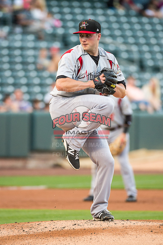 Albuquerque Isotopes starting pitcher Aaron Laffey (34) in action against the Salt Lake Bees in Pacific Coast League action at Smith's Ballpark on June 8, 2015 in Salt Lake City, Utah. The Isotopes defeated the Bees 8-7 in game two of a double-header. (Stephen Smith/Four Seam Images)