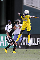 Columbus Crew defender Shaun Francis (29) heads the ball.   The Columbus Crew defeated DC United 1-0 at RFK Stadium, Saturday September 4, 2010.