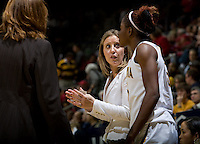 California head coach Lindsay Gottlieb talks with Gennifer Brandon during the game against Stanford at Haas Pavilion in Berkeley, California on January 8th, 2013.  Stanford defeated California, 62-53.