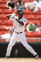 Hickory center fielder Andrew McCutchen (1) stands in to take his swings versus Asheville at L.P. Frans Stadium in Hickory, NC, Sunday, May 21, 2006.  Hickory defeated Asheville 5-4.