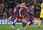 FC Barcelona's Xavi Hernandez (c), Andres Iniesta, Leo Messi (r) and David Villa celebrate goal during UEFA Champions League match.March 8,2011. (ALTERPHOTOS/Acero)