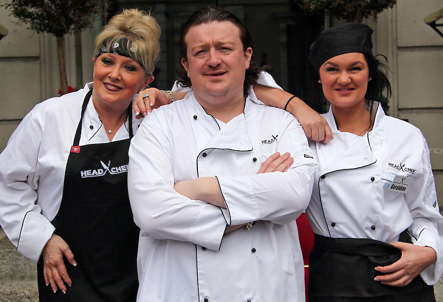 21/06/'11 Chef Conrad Gallagher of TV3's Celebrity Head Chef series pictured outside  his  'Dining Room' Restaurant with contestants,  Adel King and  Geraldine O'Callaghan...NO REPRODUCTION FEE PIC...Picture Colin Keegan, Collins, Dublin.