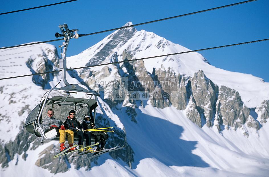Europe/France/73/Savoie/Val d Isere: Massif du Solaise arrivée du télésiège