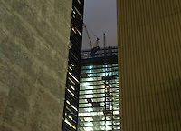 AVAILABLE FROM JEFF FOR EDITORIAL LICENSING.<br /> <br /> Office Building Construction Site at Night  - 4 World Trade Center under construction at the Ground Zero Site, Viewed from John Street in Lower Manhattan in September 2011, New York City, New York State, USA