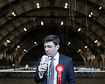 © Joel Goodman - 07973 332324 . 05/05/2017 . Manchester , UK . ANDY BURNHAM being interviewed for radio following the count and his victory in the Metro Mayor elections in Greater Manchester , at the Manchester Central Convention Centre . Photo credit : Joel Goodman