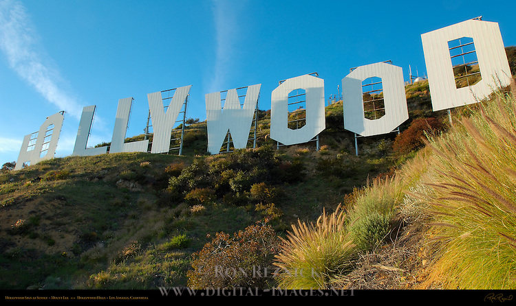 Hollywood Sign at Sunset, Mount Lee, Hollywood Hills, Los Angeles, California