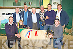 Michael Fleming President presents the cup for the supreme champion to Charles Walsh Caherciveen at the Kerry Blackface Sheep show in Milltown Mart on Saturday front row l-r: Michael Dennehy Secretary, John Walsh Caherciveen. Back row: Denis Devane Treasurer, Evan O'Sullivan Kilcummin, James Walsh Caherciveen, Michael Fleming President, Dan McCarthy Chairman, Charles Walsh Caherciveen and Pat Whyte judge  ...