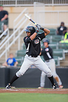 Leody Taveras (3) of the Hickory Crawdads at bat against the Kannapolis Intimidators in game two of a double-header at Kannapolis Intimidators Stadium on May 19, 2017 in Kannapolis, North Carolina.  The Intimidators defeated the Crawdads 9-1.  (Brian Westerholt/Four Seam Images)