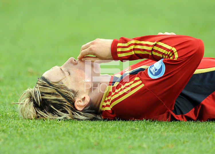 Fernando Torres of Spain lies injured. Spain defeated Iraq 1-0 during the FIFA Confederations Cup at Free State Stadium, in Mangaung/Bloemfontein South Africa on June 17, 2009.