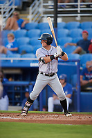 Jupiter Hammerheads right fielder Cameron Baranek (8) at bat during a game against the Dunedin Blue Jays on August 14, 2018 at Dunedin Stadium in Dunedin, Florida.  Jupiter defeated Dunedin 5-4 in 10 innings.  (Mike Janes/Four Seam Images)