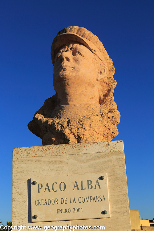 Bust of Francisco Alba Medina, known as Paco Alba, La Caleta beach, Cadiz, Spain