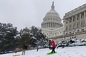 Washingtonians sled on the West Front outside the United States Capitol Building on a snowy afternoon in Washington, D.C. on March 21, 2018. Credit: Alex Edelman / CNP