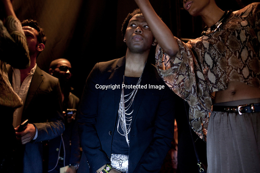NEW YORK, SEPTEMBER 9 2012: South African designer David Tlale during his show at Mercedes Benz New York fashion week at the Box, at Lincoln Center, New York. (Photo by: Per-Anders Pettersson)