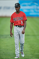Zeek White (6) of the Billings Mustangs before a game against the Ogden Raptors at Lindquist Field on August 17, 2018 in Ogden, Utah. Billings defeated Ogden 6-3. (Stephen Smith/Four Seam Images)