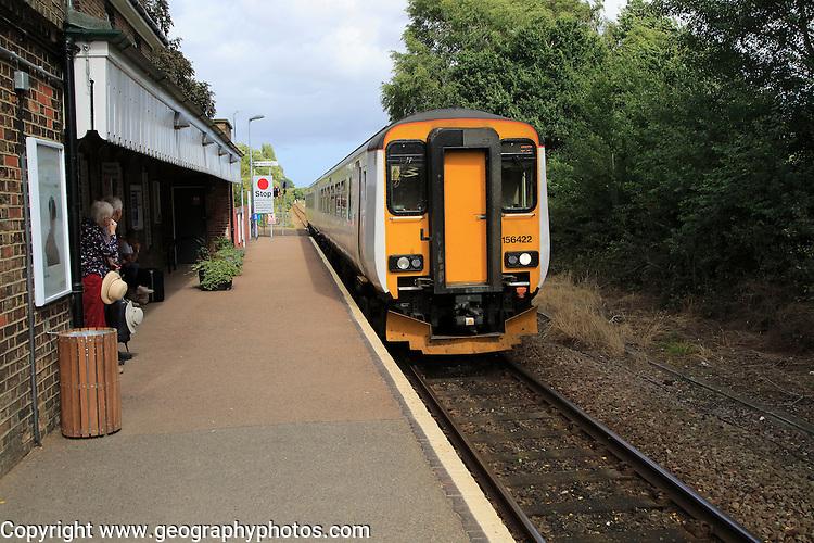 Class 156 Super Sprinter Diesel train, Abellio Greater Anglia, Melton station, Suffolk, England, UK