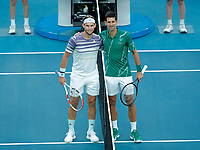 2nd February 2020; Melbourne Park, Melbourne, Victoria, Australia; Australian Open Tennis, Mens singles final on Day 14; Novak Djokovic of Serbia poses with Dominic Thiem of Austria before the game