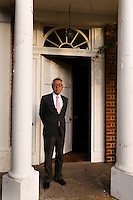Yoshihide Hashimoto, Managing Director of Dojima Sake Brewery at the entrance of Fordham Abbey House, Ely, UK, December 5, 2016.The Fordham Abbey Estate is set to be the site of the UK's first sake brewery. Work is underway on a new brewery and visitor centre, while the Grade II listed Georgian main house will host Japanese food and sake tasting events.