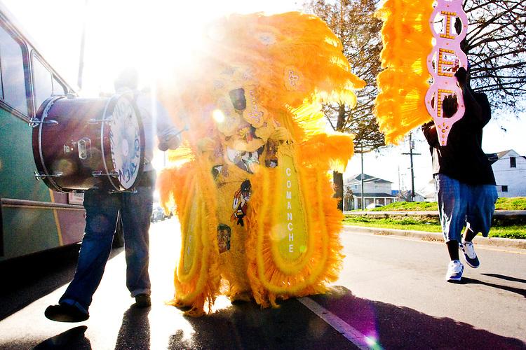 "Wallace Pardo, ""Chief"", and the rest of the Golden Comanches Mardi Gras Indians parade in the Treme neighborhood of New Orleans on February 28, 2006."