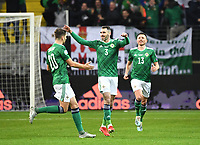 19th November 2019, Frankfurt, Germany; 2020 European Championships qualification, Germany versus Northern Ireland;  Matthew Lund, Michael Smith and Corry Evans celebrate their goal for 1-0