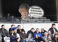 14th June 2020, Aukland, New Zealand;  A cardboard cutout of the Queen at the Investec Super Rugby Aotearoa match, between the Blues and Hurricanes held at Eden Park, Auckland, New Zealand.