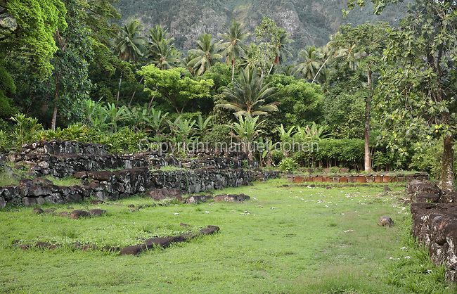 Platforms in the meae or religious sanctuary of Tohua Upeke, in the Ta'a Oa valley, on the island of Hiva Oa, in the Marquesas Islands, French Polynesia. This religious site was used by the pre-European Marquesian civilisation and was the site of human sacrifices. Picture by Manuel Cohen