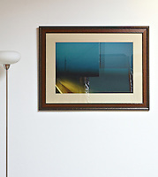 "On The Road, by Kimo Easterwood, Brown Frame, Linen Matt, Plexiglass, 32"" x 42.5"", film art, cleared art rental, cleared artwork, cleared artwork for film and tv"
