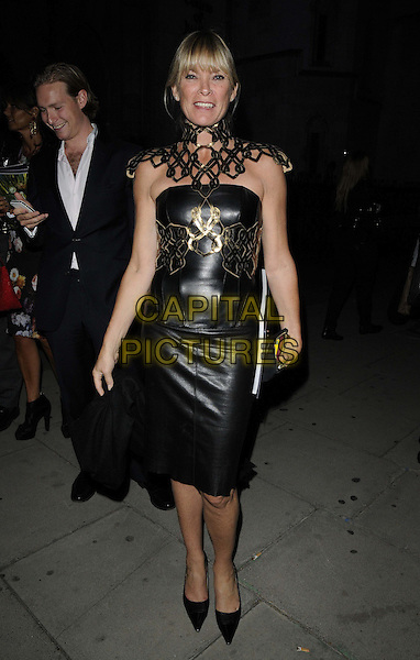 Debbie Leng.at the Philip Treacy s/s 2013 catwalk show, London Fashion Week LFW Day 3, The Royal Courts of Justice, The Strand, London, England..16th September 2012.full length black leather dress gold belt armor belt shoulders .CAP/CAN.©Can Nguyen/Capital Pictures.